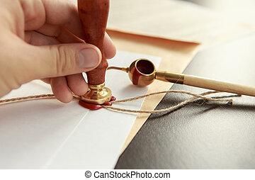 leest, postzegel, pen, notary's, will., testament, publiek