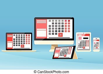 leest, tablet, draagbare computer, apparaat, desktop,...