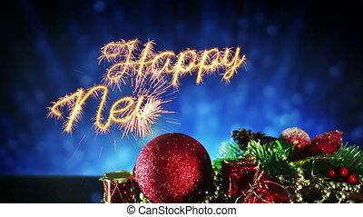 leest, vuurwerk, jaar, loopable, nieuw, 10s, viering, vrolijke