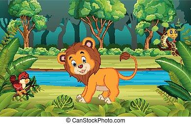 leeuw, bos