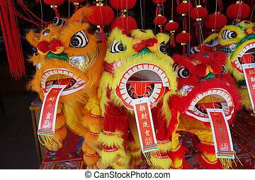 leeuw, dancing, traditionele