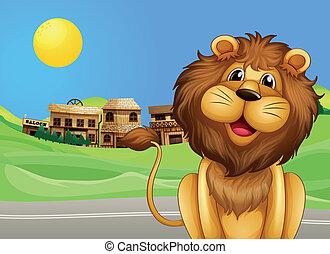 leeuw, door, dorp