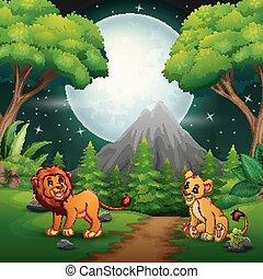 leeuw, gebrul, jungle, achtergrond, spotprent