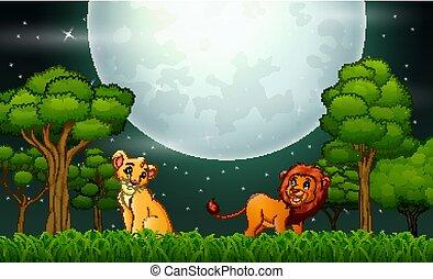 leeuw, gebrul, spotprent, landscape, natuur