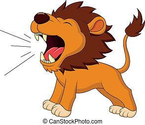 leeuw, gebrul, spotprent