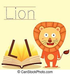 leeuw, illustrator, l, vocabular