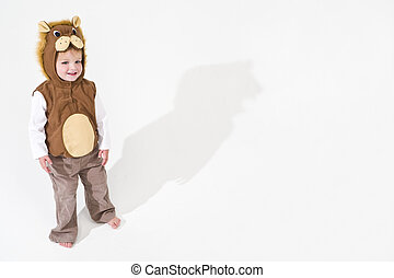 leeuw, jurkje, kostuum, zich verbeelden, kind