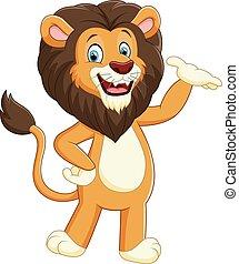 leeuw, karton, het poseren, vrolijke