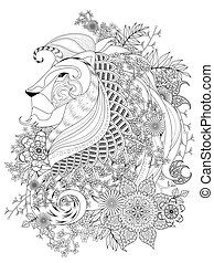leeuw, kleuren, volwassene, pagina