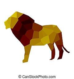 leeuw, laag, poly