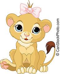 leeuw, meisje, welp
