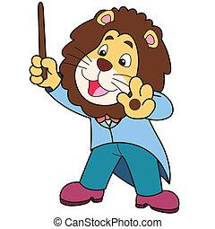 leeuw, muziek, spotprent, dirigent