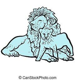 leeuw, oud, jonge