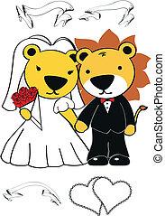 leeuw, set, spotprent, trouwfeest