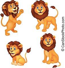 leeuw, set, spotprent, verzameling