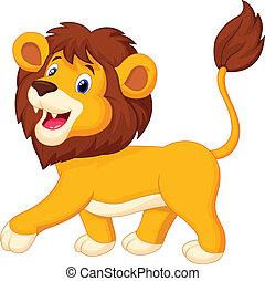 leeuw, spotprent, wandelende