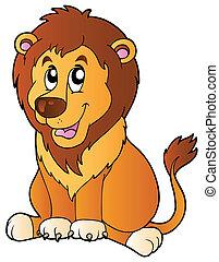 leeuw, spotprent, zittende