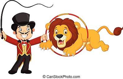 leeuw, springt, door, spotprent, ring
