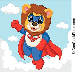 leeuw, superhero, spotprent