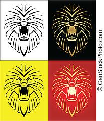 leeuw, vector, illustratie, mascotte