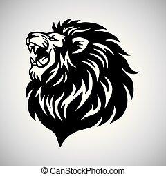 leeuw, vector, mal, logo, gebrul, mascotte