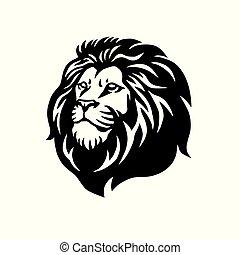 leeuw, vector, ontwerp, mal, wild, logo, mascotte, pictogram