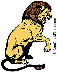 leeuw, zittende