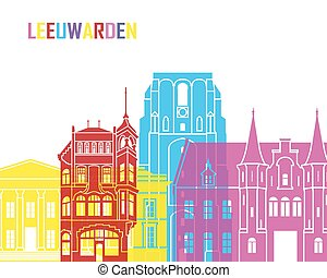 Leeuwarden skyline pop - skyline pop in editable vector file