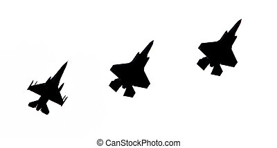 LEEUWARDEN, THE NETHERLANDS - JUNE 10, 2016: F-16 and 2 F-35 Lightning (silhouette) II flyby on it's European debut at the Royal Netherlands Air Force Days