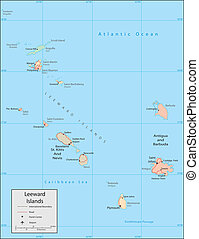 Leeward Islands - Vector map. Marked geographical and ...