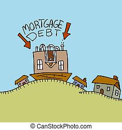 lefelé, adósság, a teteje, jelzálog