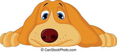lefelé, csinos, fekvő, karikatúra, kutya