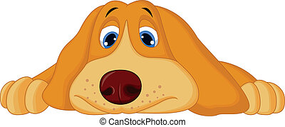 lefelé, csinos, karikatúra, fekvő, kutya