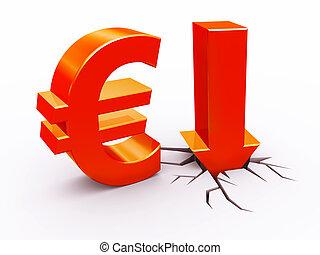 lefelé, euro