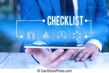lefelé, idegenvezető, szöveg, használ, hord, fogalom, hivatalos, checklist., üzlet alkalmaz, lista, hím, bemutatás, device., szó, elfoglaltság, furfangos, részletes, munka, átnyújtás, írás, emberi, valami