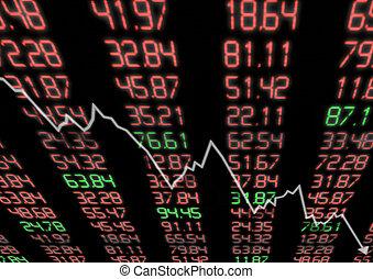lefelé, piac, részvény