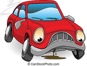 lefelé, törött, bús, karikatúra, autó