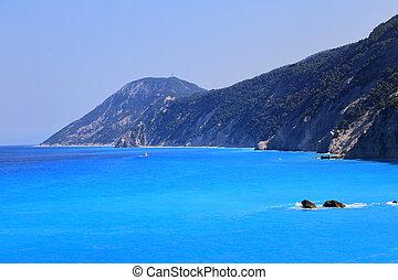 lefkada, berge, blaues, meer, griechenland