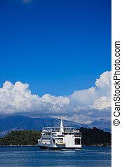 lefkas, veerboot, passagier, eiland