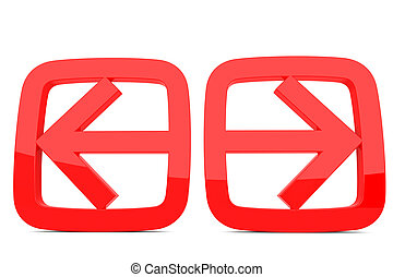 Left and right arrow - 3d render of red left and right arrow...