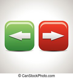 Left and right arrow icons, buttons. Vector.