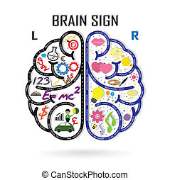 left and right brain symbol, creativity sign, business ...