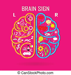 left and right brain symbol, creativity sign, business symbol, knowledge and education icon