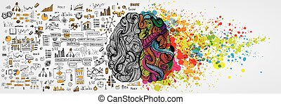 Left and right human brain with social infographic on...