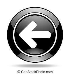left arrow black glossy icon