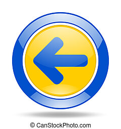 left arrow blue and yellow web glossy round icon