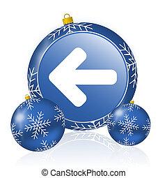 Left arrow blue christmas balls icon