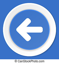 left arrow blue flat design modern web icon