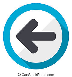 Left arrow blue flat design web icon