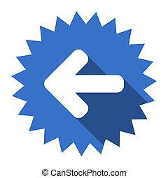 left arrow blue flat icon